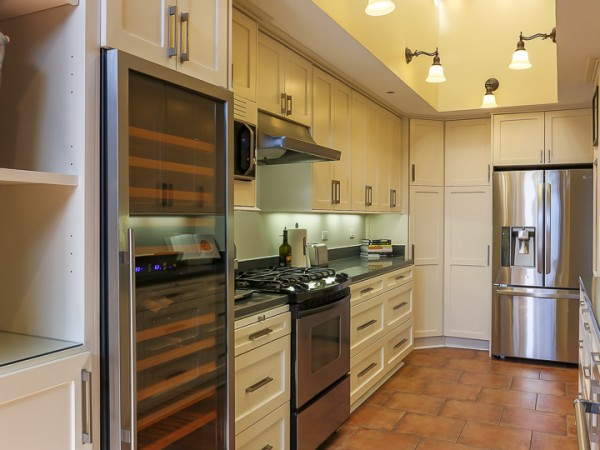kitchen with wine fridge